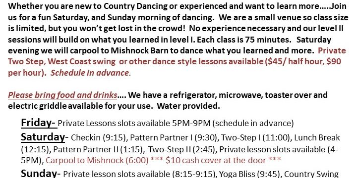 Country Pattern Partner and Two Step Dance Workshop and Private Lessons